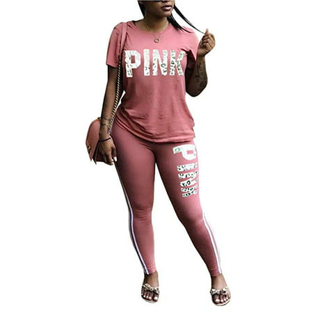 Women Pink Word Letter Print V Neck Sweatshirt Pantsuits Sweatpants Jumpsuits 2 Piece Outfits