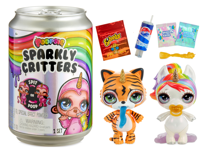 """Poopsie Sparkly Critters 6"""" Figures That Magically Poop or Spit Slime"""
