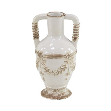 Decmode Rustic 12 X 7 Inch Distressed White Stoneware Vase With