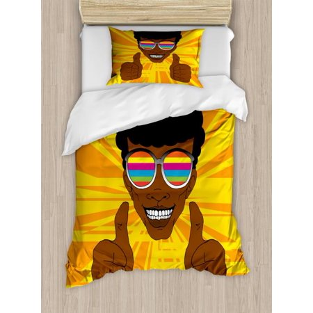 Afro Twin Size Duvet Cover Set, Happy Hippie Man with Colorful Sunglasses Lifting His Thumbs Retro Positive Vibes, Decorative 2 Piece Bedding Set with 1 Pillow Sham, Multicolor, by - Matrix Twins Sunglasses