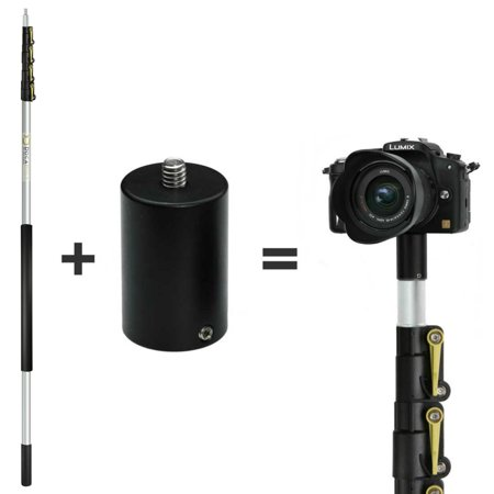DocaPole 30 Foot Camera Pole – 7-30 ft Extension Pole + ClickSnap Camera Adapter for GoPro, Camera or Video Camera DocaPole 30 Foot Camera Pole  7-30 ft Extension Pole + ClickSnap Camera Adapter for GoPro, Camera or Video Camera  Provides up to 36 Feet of Reach  Painters Pole Camera Adapter