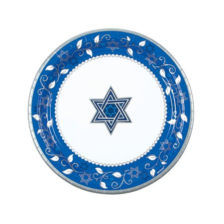 Fun Express - Joyous Holiday Passover Dinner Plates - Party Supplies - Licensed Tableware - Licensed Plates & Bowls - 8 Pieces