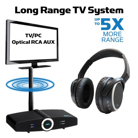 LONG RANGE, TV Wireless Headphones with Bluetooth Transmitter System,  PAIRED FOR FREE, NO AUDIO DELAY, Connect Over Ear Headphones to TV Adapter,  Mic