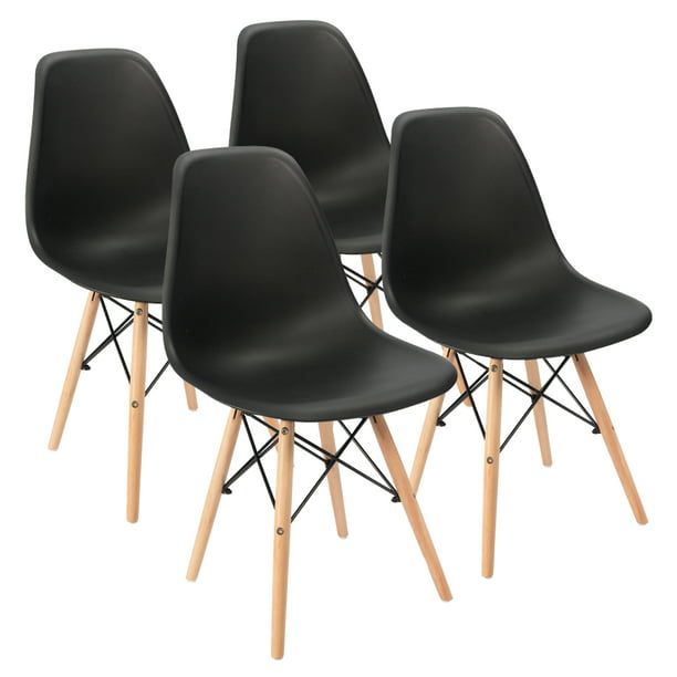 Walnew Dining Chairs Pre Assembled Modern Style DSW Chair Classic Shell Armless Indoor Kitchen Dining Living Room Side Chairs Set of 4 (Black)