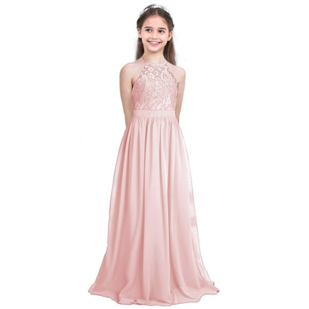 Drees For Girls (Girls Lace Chiffon Flower Girl Dress for Pageant Wedding Birthday)
