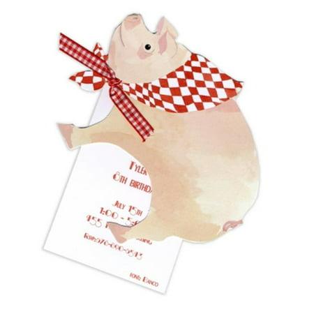 Stevie Streck Designs AW956BOX This Little Piggy Avec carreaux rouges et blancs Tag ruban - image 1 de 1
