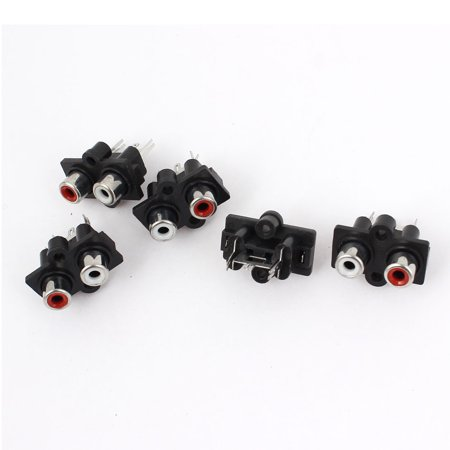 5 Pcs Vertical Type PCB Mounting 2 RCA Female Jack AV Concentric Outlet - Pub Jack