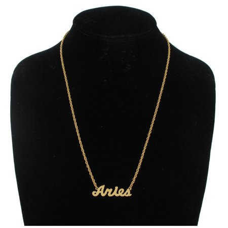 Gold Tone Metal Zodiac Sign Name Plate Pendant Necklace Aries Astrology ()