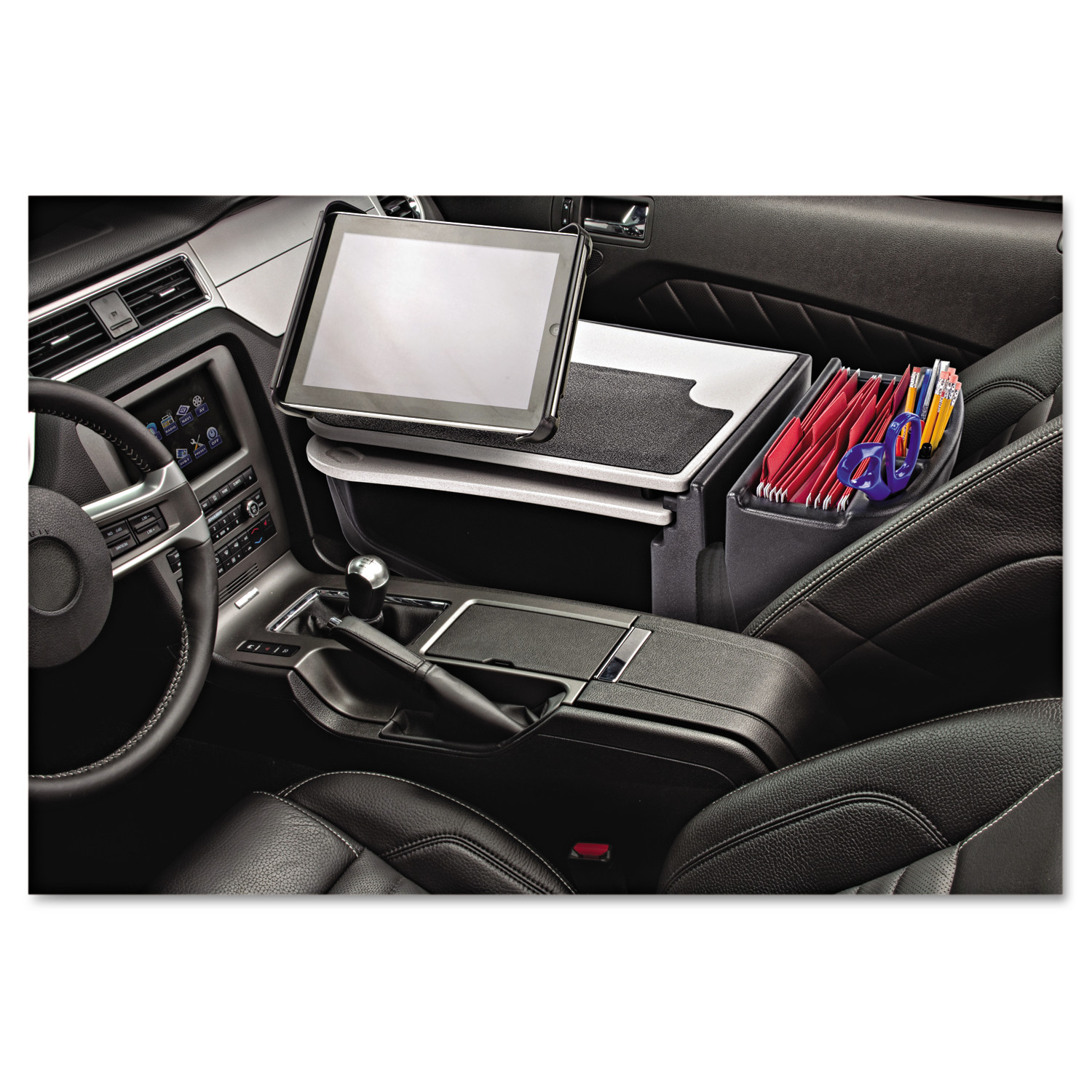 AutoExec GripMaster 03 Auto Desk with iPad Tablet Mount, Supply Organizer, Gray