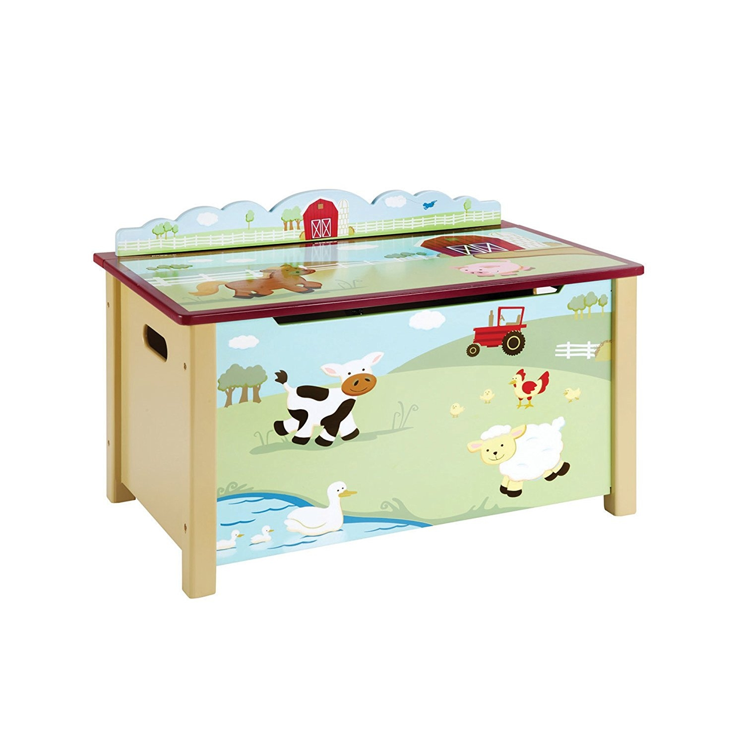 Guidecraft Wood Hand-painted Farm Friends Toy Box G86704