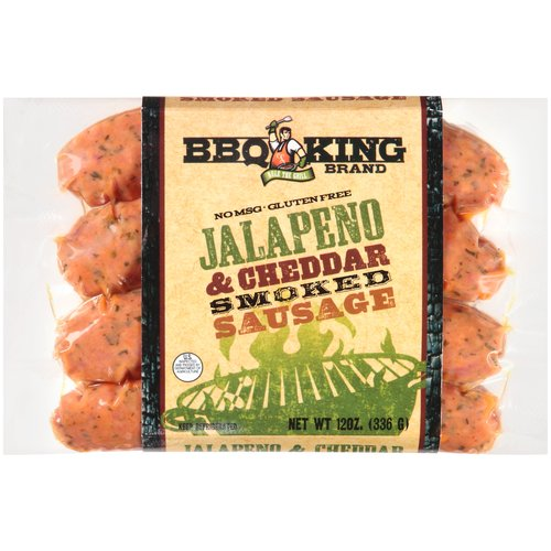 BBQ King Jalapeno & Cheddar Smoked Sausage, 4 count, 12 oz