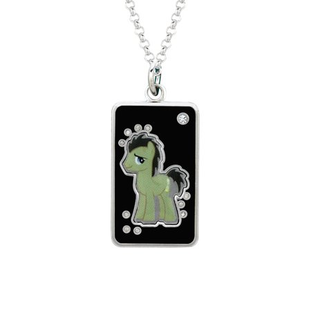 My Little Pony Fine Silver Plated Crystal Dr. Hooves Dog Tag Pendant Necklace