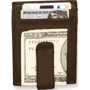 Brown Leather Spring Clip Front Pocket Wallet Designer Jewelry by Sweet Pea