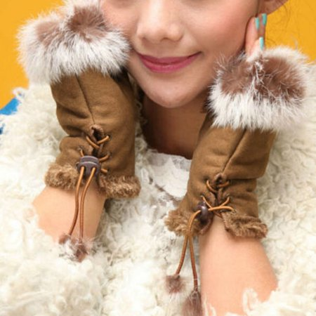 HiCoup Women's Winter Faux Rabbit Fur Faux Leather Fingerless Mittens Wrist Gloves - White Magician Gloves
