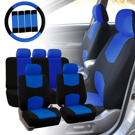 FH Group Car Seat Covers Flat Cloth For Sedan SUV Van Full Set