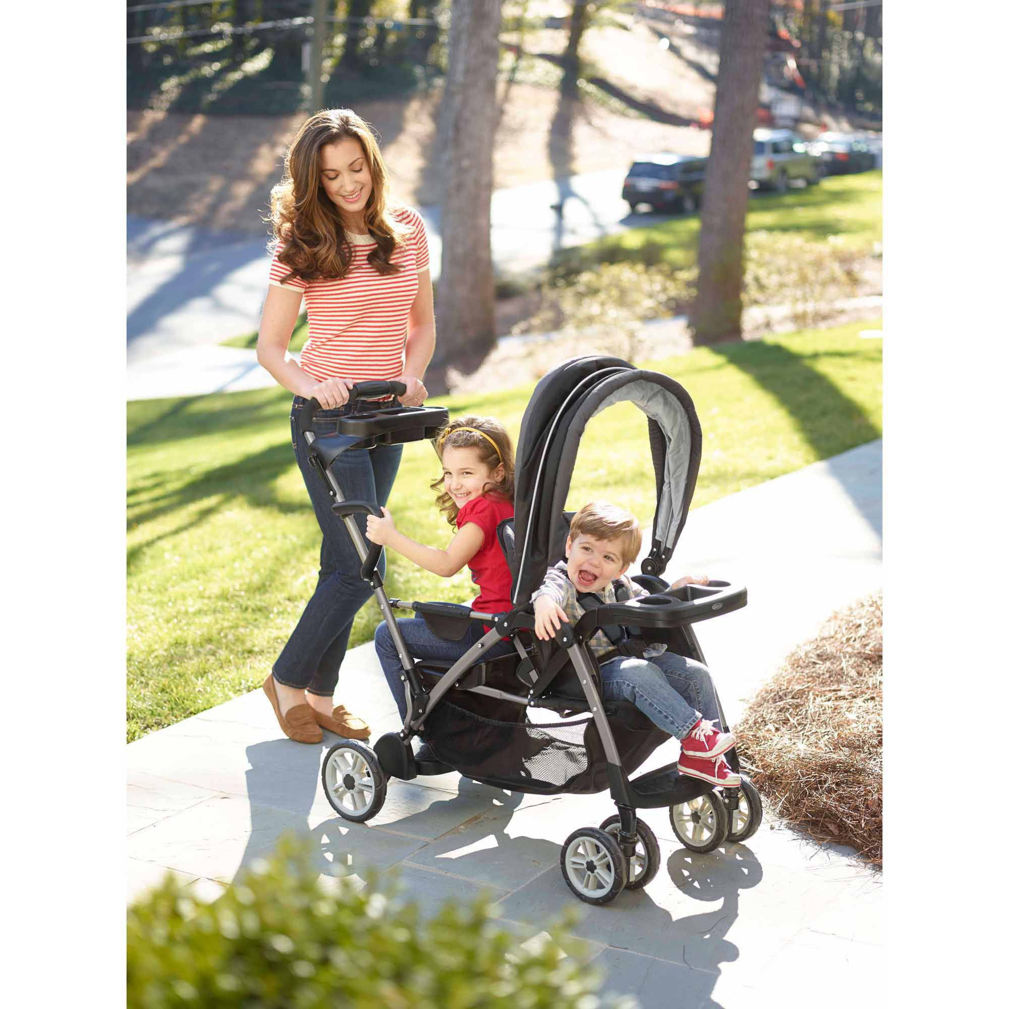 Graco Roomfor2 Connect Stand and Ride Double Stroller Children Toddler
