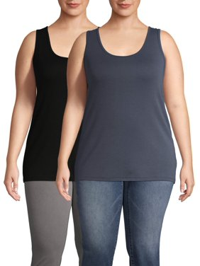 Terra & Sky Women's Plus Size Layering Tank Top (2 Pk Bundle)