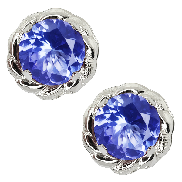 1.60 Ct Round Tanzanite 925 Sterling Silver Stud Earrings 6MM