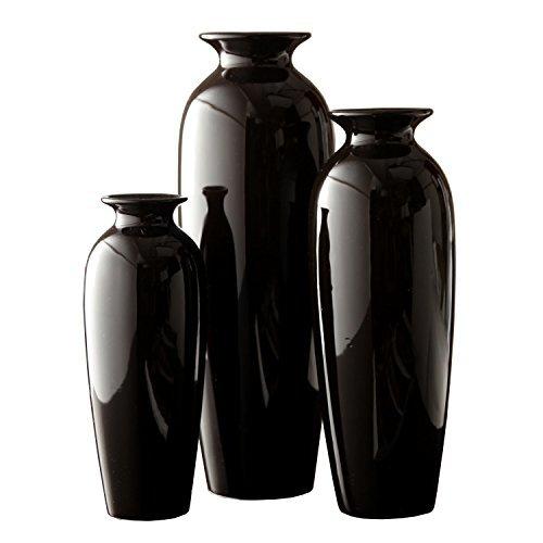Hosley s Elegant Expressions Set of 3 Black Ceramic Vases...
