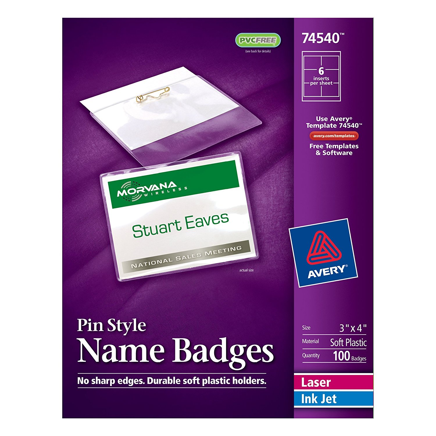 Top Loading Pin Style Name Badges 3 X 4 Box Of 100 74540 Includes White Badge Inserts And Clear Durable Plastic Holders With Pins By