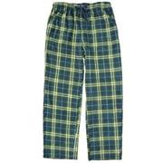 Northcrest Mens Blue & Green Plaid Fleece Sleep Pants Pajama Bottoms