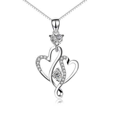 - SilverLuxe Sterling Silver Interlocking Hearts Cubic Zirconia Pendant Necklace