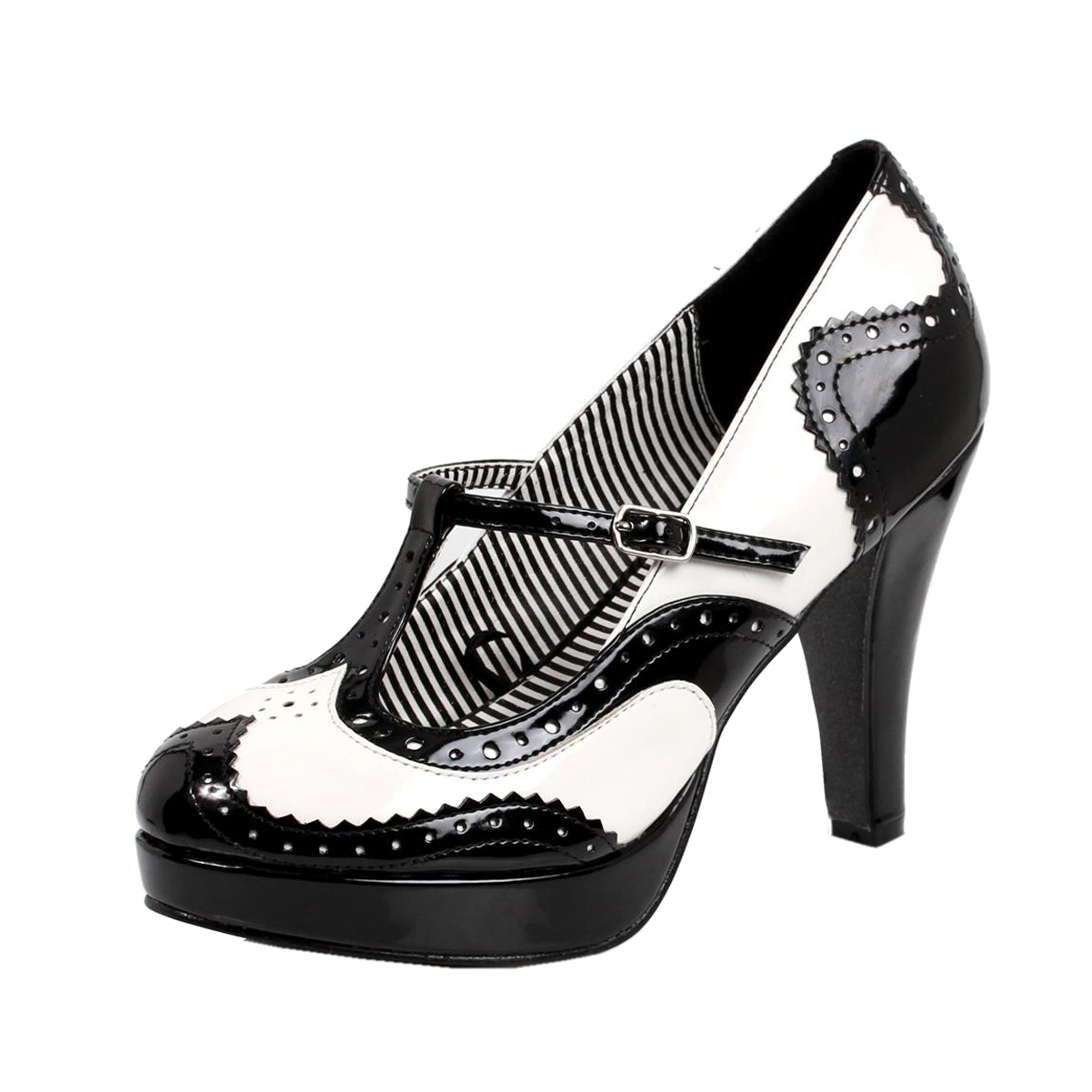 womens black and white heels t pumps