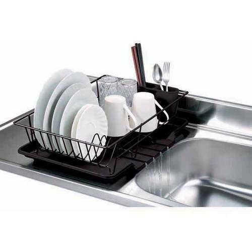 Home Basics 3-Piece Dish Drainer Set, Black