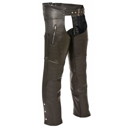 (Milwaukee Leather - Mens Leather Chaps with Zippered Thigh Pockets - Black - Size 2XL)