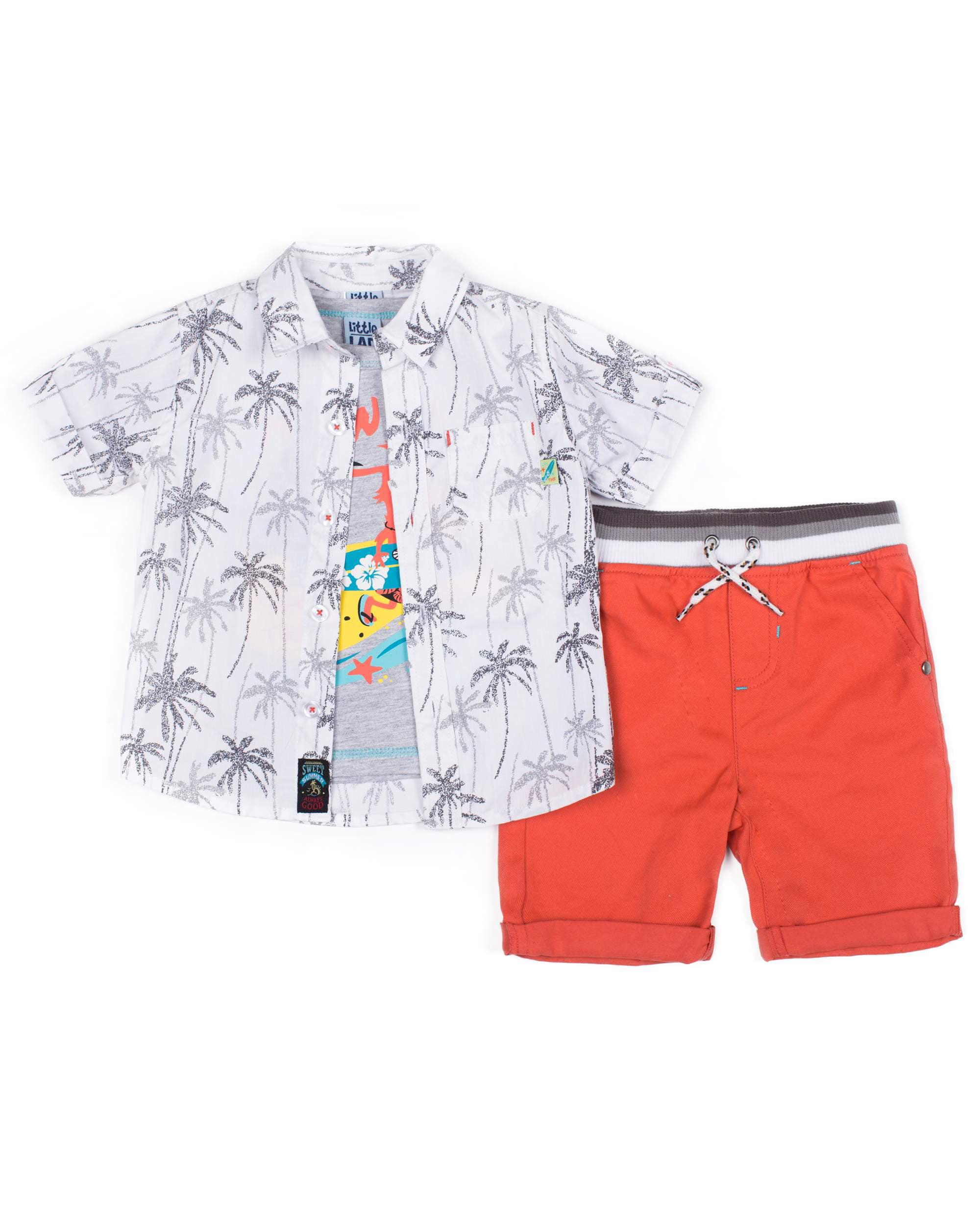 7ea9f3e17 Short Sleeve Printed Poplin Button Up Shirt, Short Sleeve Graphic T-shirt &  Drawstring Twill Short, 3pc Outfit Set (Baby Boys & Toddler Boys)