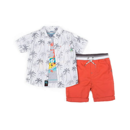 Boys Dressing Up Outfit (Little Lad Short Sleeve Printed Poplin Button Up Shirt, Short Sleeve Graphic T-shirt & Drawstring Twill Short, 3pc Outfit Set (Baby Boys & Toddler)