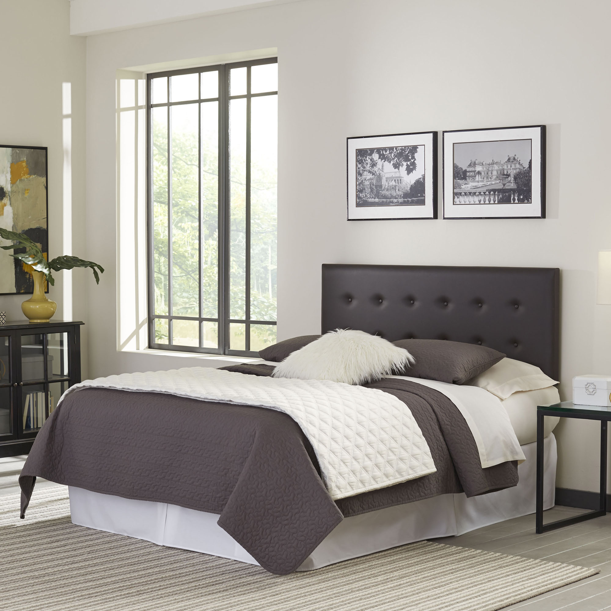 Franklin Button-Tuft Faux Leather Upholstered Headboard with Adjustable Height, Mocha Finish, Twin