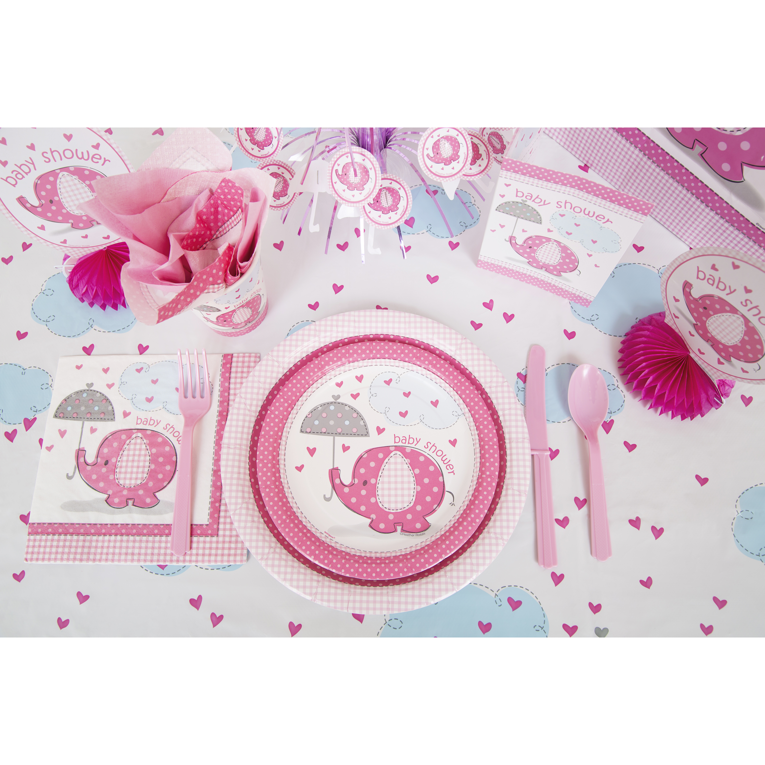 Pink Elephants Baby Shower Supplies