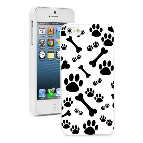 Apple iPhone (6 Plus / 6s Plus) Hard Back Case Cover Black Paw Prints and Bones Design (White)