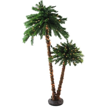 6' Pre-Lit Tropical Palm Tree Artificial Christmas Tree - Clear