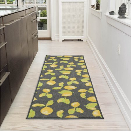 Ottomanson Lemon Collection Contemporary Grey Lemons
