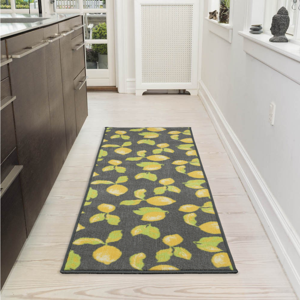 "Ottomanson Lemon Collection Contemporary Grey Lemons Design Runner Rug with (Non-Slip) Kitchen and Bathroom Mat, Grey, 20"" X 59"""