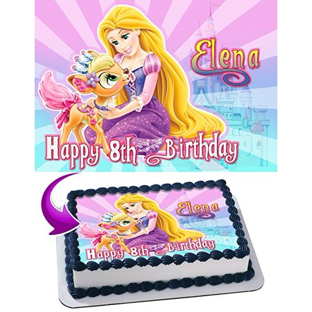 Rapunzel Cake Image Personalized Topper Edible Image Cake Topper Personalized Birthday 1/4 Sheet Decoration Party Birthday Sugar Frosting Transfer Fondant Image Edible Image for cake](Repunzel Birthday)