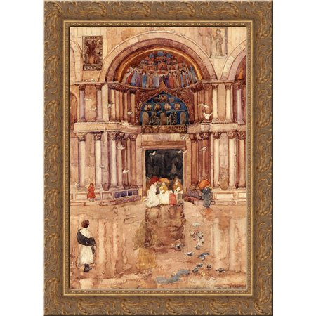 The Porch with the Old Mosaics, St. Mark's, Venice 20x24 Gold Ornate Wood Framed Canvas Art by Prendergast, Maurice - Wood Mosaic