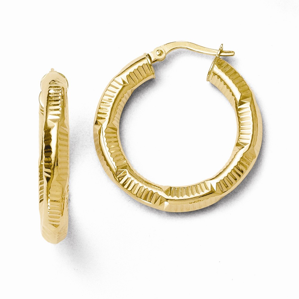 14k Yellow Gold 4.00mm ForeverLite Polished and Textured Hoop Earrings (1.1IN Diameter)