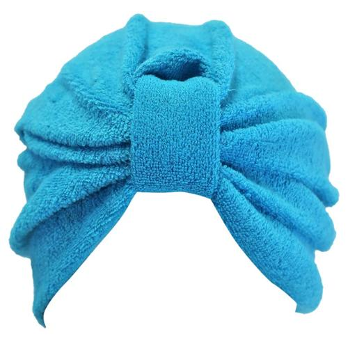 Luxury Divas Turquoise Terry Cloth Turban Hat Head Cover Bathing Cap