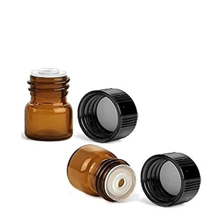 1/4 Dram AMBER Glass Vial with Dropper Top for Essential Oils - and Lid Stickers Screw Cap w/ Orifice Reducer - Pack of 24 Bulk Lot 1ml Each by Grand Parfums® (Bulk Natural Oils)