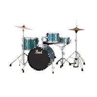 "Pearl Roadshow Complete 4-Piece Drum Set w/ 18"" Bass Drum, Hardware & Cymbals - Aqua Blue Glitter"