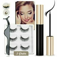 Magnetic Eyelashes Waterproof Kit 3x False Eyelashes+Eyelashes Eyeliner+Tweezer #011