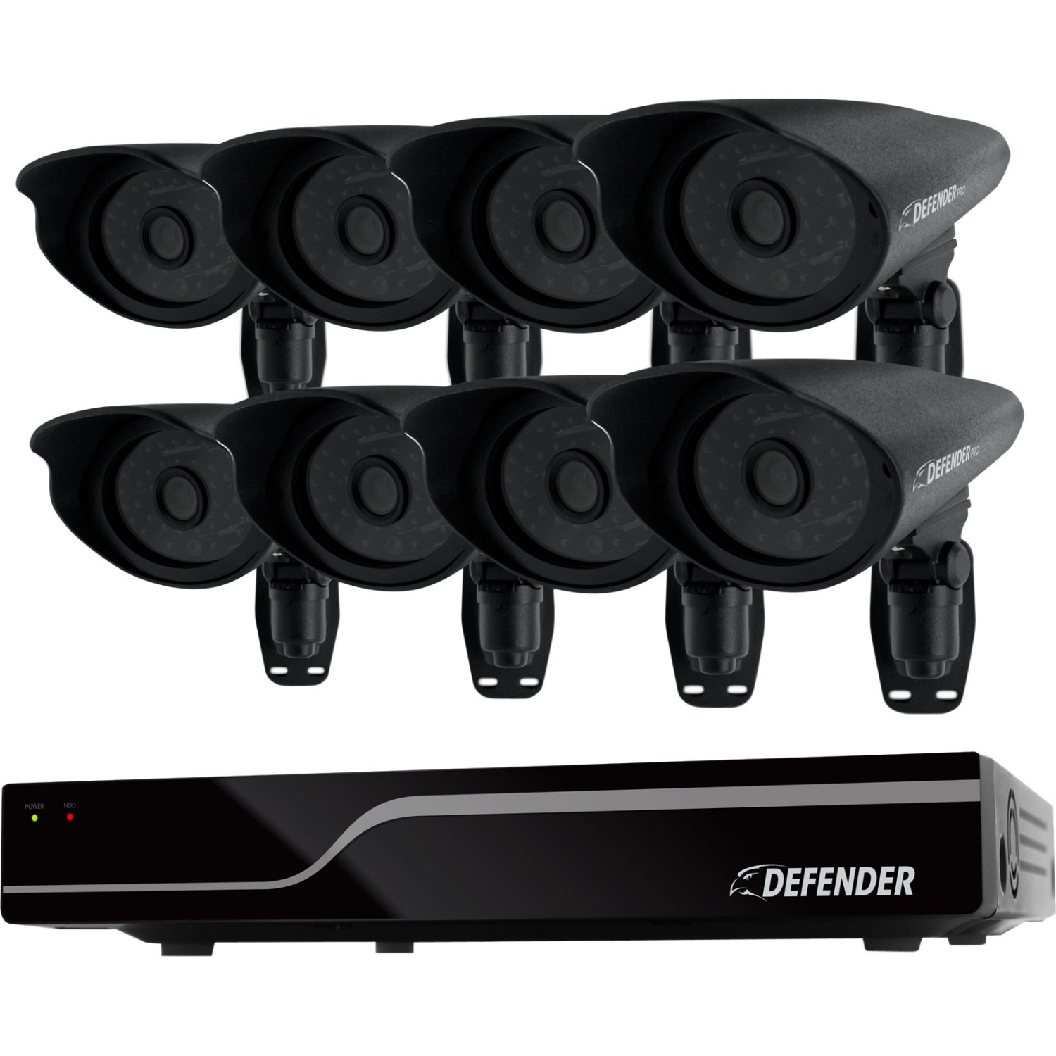 DEFENDER PRO Sentinel 8CH Smart Security DVR with 8 Hi-Res Outdoor Security Cameras