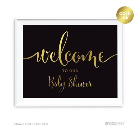 Welcome To Our Baby Shower Black and Metallic Gold Baby Shower Signs (Shower Sign)