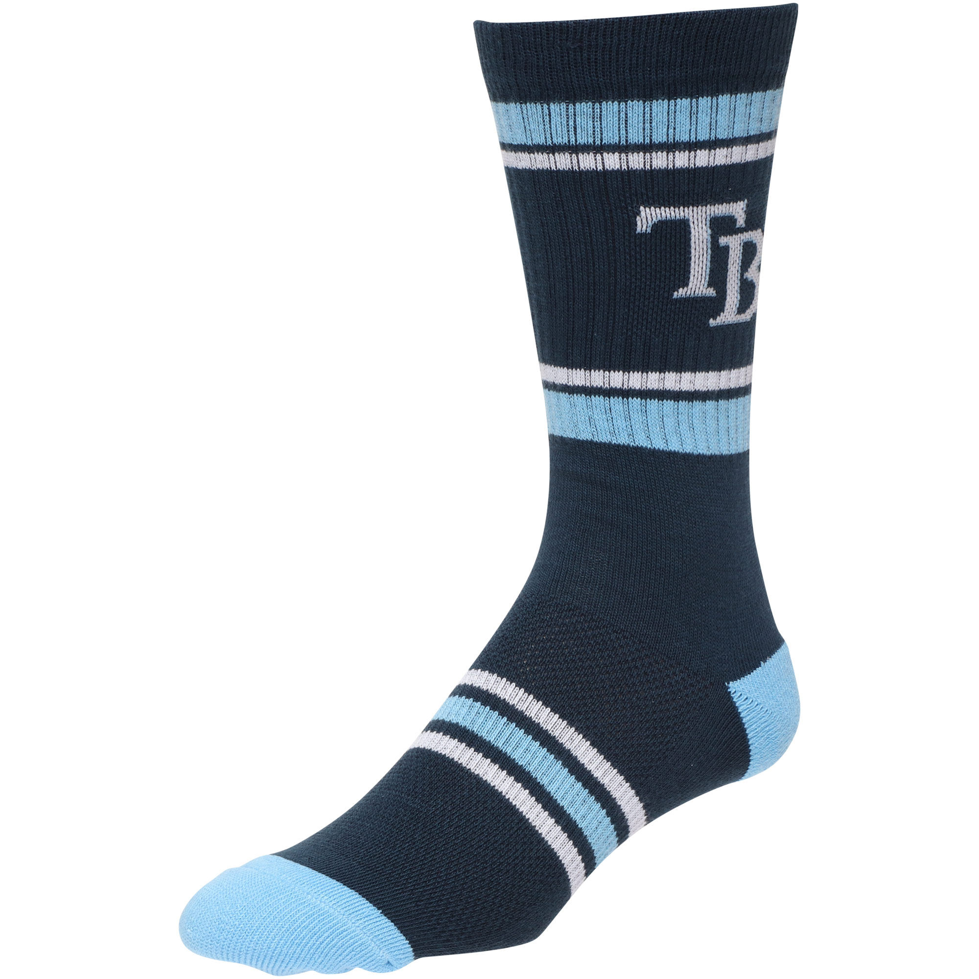 Tampa Bay Rays Stripe Crew Socks - Navy - L