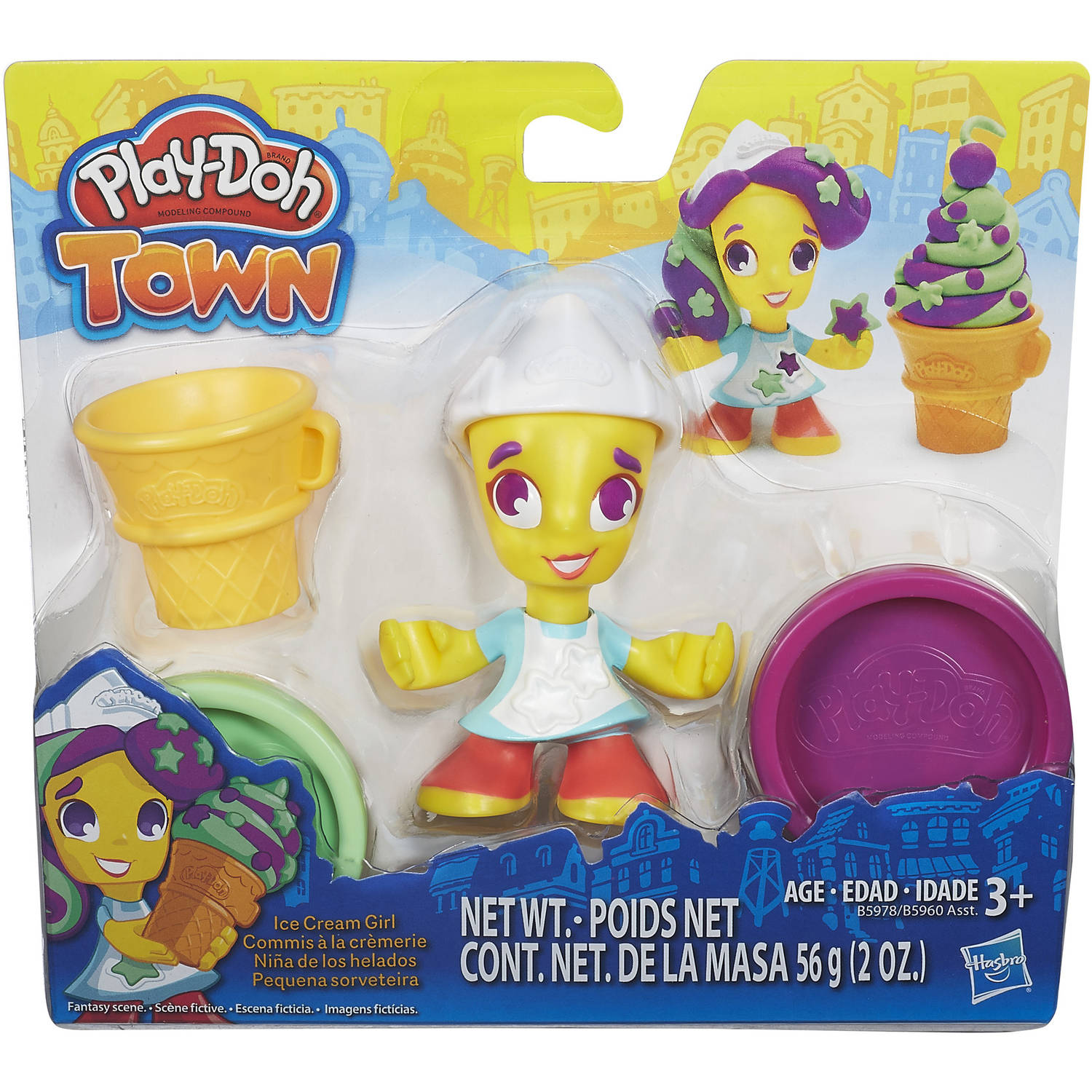Play-Doh Town Ice Cream Figure with 2 Minis, 2 oz