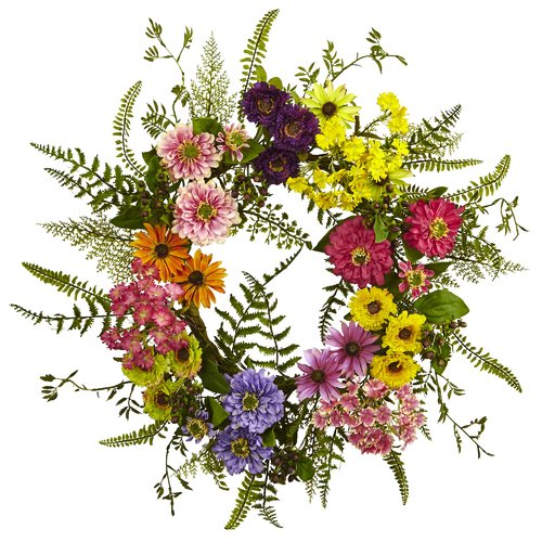 Nearly Natural Mixed Flower 22'' Wreath