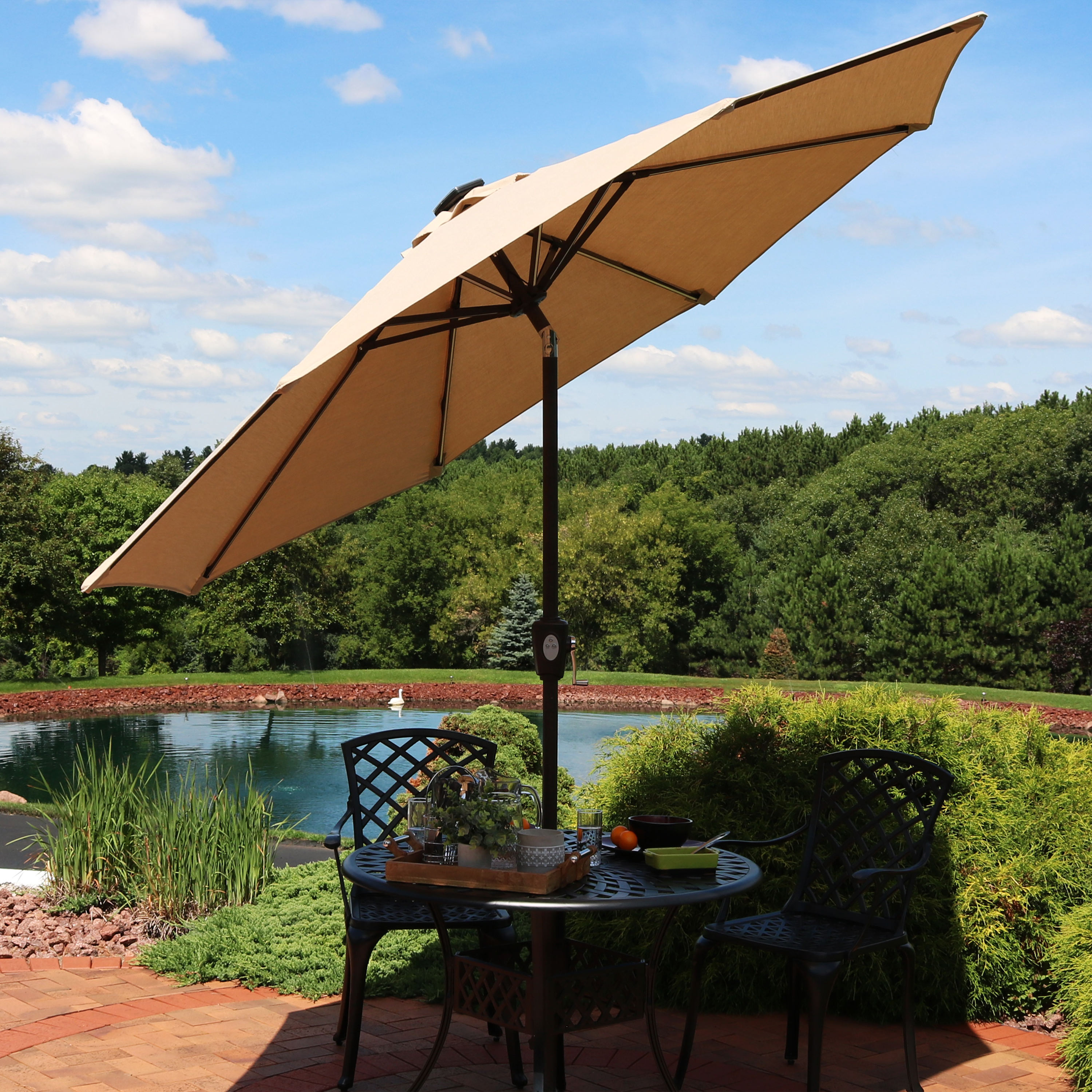 Sunnydaze 9-Foot Solar LED Aluminum Sunbrella Patio Umbrella - Choose Color